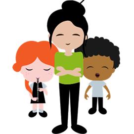 Illustration of teacher with children